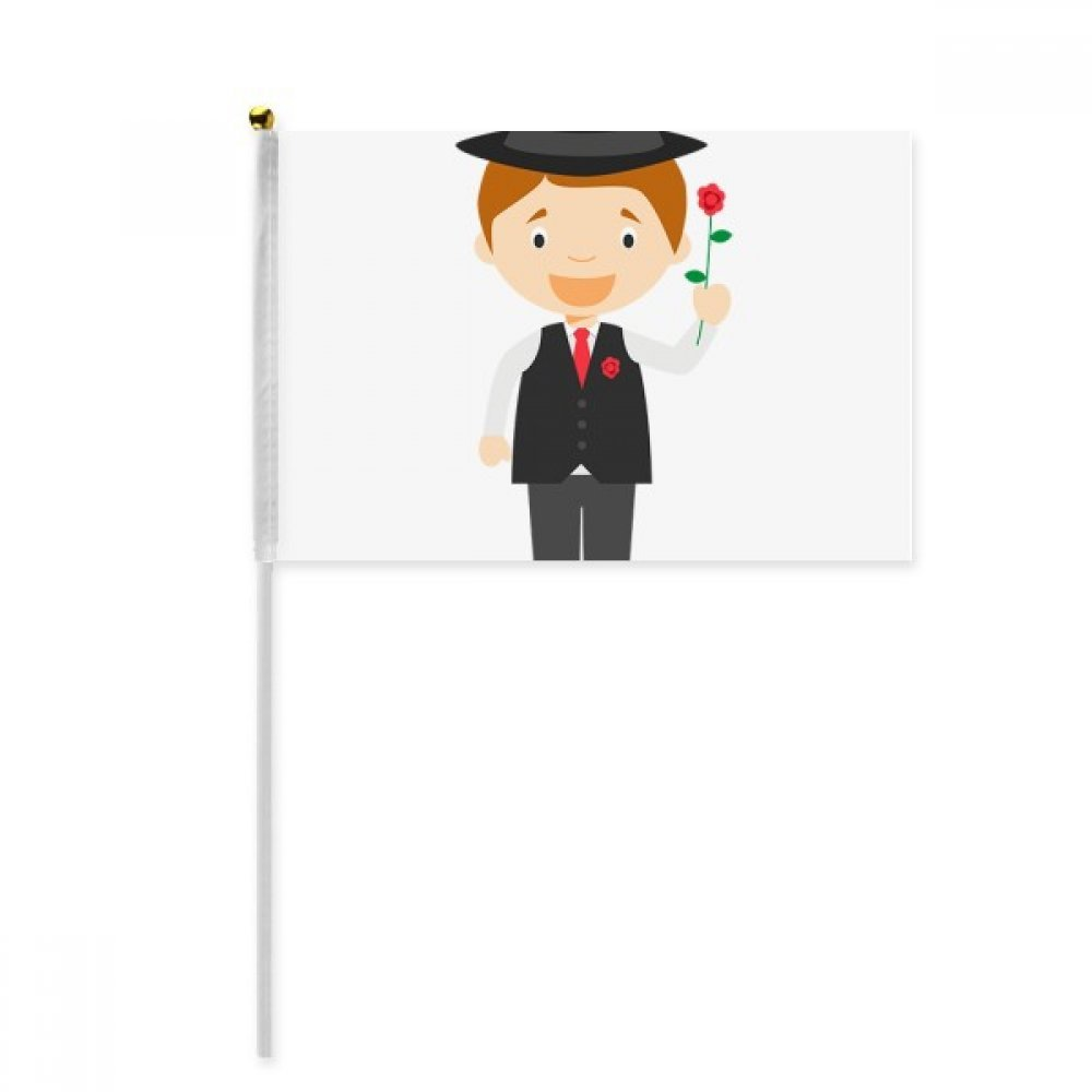 Black Suit Argentina Cartoon Hand Waving Flag 8x5 inch Polyester Sport Event Procession Parade 4pcs