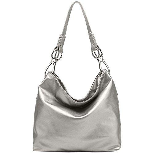 Silver Solid Handbag (FASH Limited Chic Hobo Handbag Glossy Texture PU Leather Handbag - Silver)