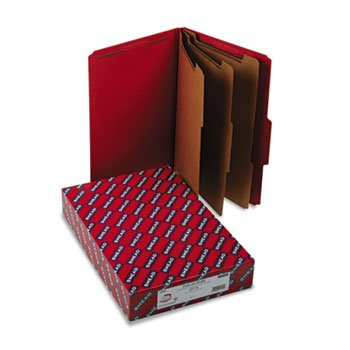 (3quot; Expansion Folders with 2/5 Cut Tab, Legal, Eight-Section, Bright Red, 10/Box)