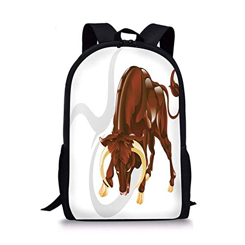 School Bags Taurus,Angry Bull Birth Sign Astrology Animal Icon Cultural Western Spirituality Graphic Decorative,Redwood Cream for Boys&Girls Mens Sport Daypack