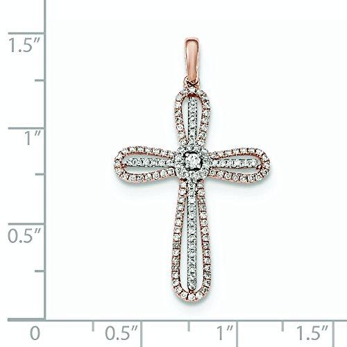 Or blanc et rose 14ct Diamant Pendentif Croix