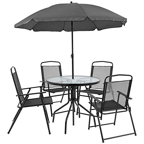 Flash Furniture Nantucket 6 Piece Black Patio Garden Set with Table, Umbrella and 4 Folding Chairs,
