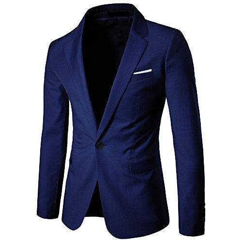 - YIMANIE Men's Blazer Slim Fit Casual Suit Coat One Button Business Lapel Suit Jacket Sports Coat Navy Blue