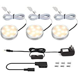 LE LED Under Cabinet Lighting Kit, 510lm Puck Lights, 3000K, Warm White, All Accessories Included, Kitchen, Closet Lights, Set of 3