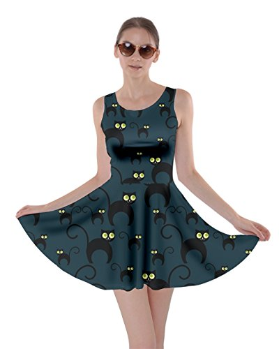 CowCow Womens Black Cats Skater Dress, Cat In Dark - XS (Black Cat Dress)