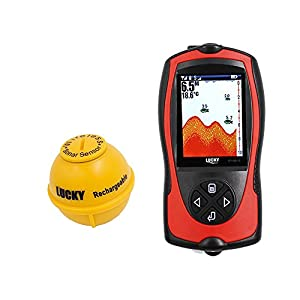 Lucky Portable Fish Finder Sonar Sensor 147 Feet Water Depth Sounder LCD Screen Echo Sounder Fishfinder With Fish Attractive Lamp For Ice Fishing from Lucky