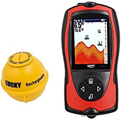 Lucky Portable Fishing Sonar Fish finder Sensor 147 feet Water Depth High Definition LCD Screen Echo Sounder Fishfinder with fish attractive lamp