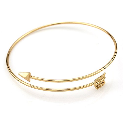 - Open End Adjustable Arrow Bangle Bracelet Simple Style Wrapped Bangle Bracelet Wire Bracelet (Golden)
