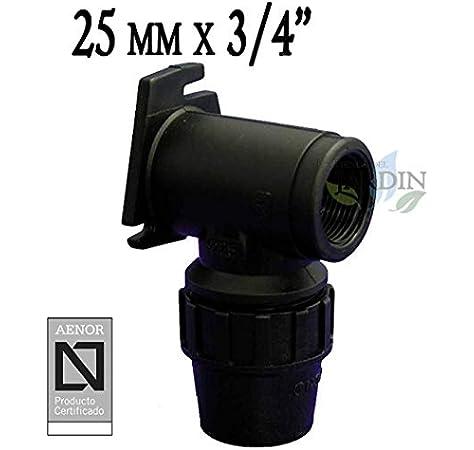 CODO MACHO POLIETILENO 25MM x 3//4 Producto con certificado AENOR utilizado en tuber/ías PE 25 mm para uso fontaner/ía riego y obras.
