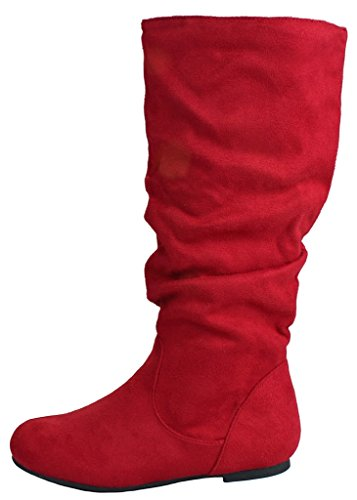 Fashion Slouch Faux Leatherette/Suede Mid Calf Motorcycle Boots Red_Zerin ia6fC