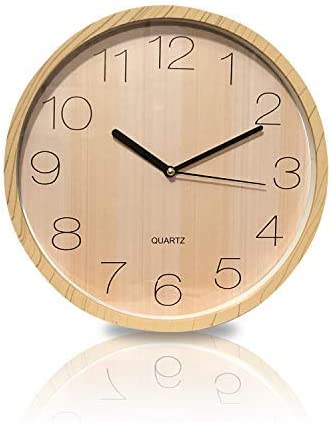 ARIMIA Quartz Quality Analogue Wall Clock Wooden Color Silent Non-Ticking Beautiful Design Premium Quality Battery Operated for School, Office and Home