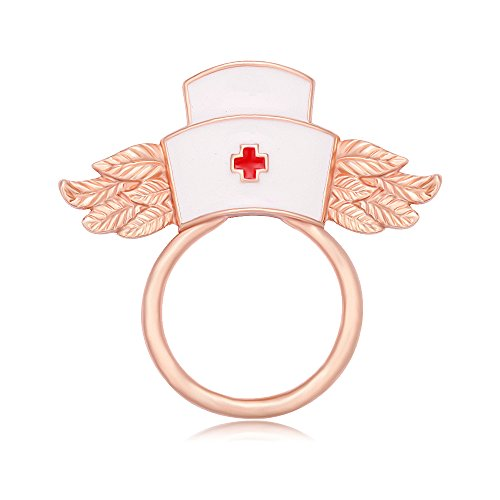 Id Rose Brooch (MANZHEN White Enamel Nurse Hat with Wings Brooch Magnetic Eyeglass Holder Nurse Gift (rose gold))