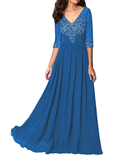 [OYISHA Womens 1/2 Sleeve Beaded Chiffon Evening Dress Formal Wedding Gowns EV134 Dark Blue 24W] (Plus Size Evening Wear)