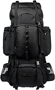 AmazonBasics Internal Frame Hiking Camping Rucksack Backpack with Rainfly - 18 x 8 x 37 Inches, 75 Liters, Bla