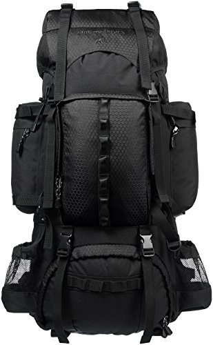 AmazonBasics Internal Frame Hiking Camping Rucksack Backpack with Rainfly - 18 x 8 x 37 Inches, 75 Liters, Black (Best Hiking Backpack Under 100)