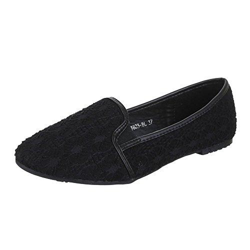 Ital-Design Damen Schuhe, B1803-BL, Halbschuhe Slipper Schwarz