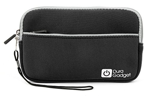 (DURAGADGET Jet Black Tough Water & Scratch Resistant Neoprene Zip Case Compatible with Pyle Home PDH7 7-Inch Portable TFT/LCD Monitor with Built-in DVD Player MP3/MP4/USB SD Card Slot)