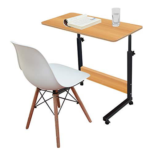 Jerry & Maggie - Adjustable Height Desk Laptop Desk Office Home Movable Table Bedside Lapdesk with 4 Wheels Flexible Wooden Stand Desk Cart Tray Side Table - Natural Wood Tone
