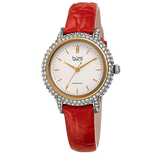 Burgi Swarovski Crystal Studded Case Watch - Encrusted with 164 Swarovski Crystals On Genuine Alligator Embossed Patent Leather Strap - Two Genuine Diamonds at 12 Hour- BUR249 (Red)