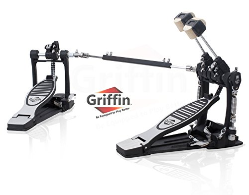Deluxe Double Kick Drum Pedal for Bass Drum by Griffin | Twin Set Foot Pedal|Quad Sided Beater Heads|Dual Pedal Double Chain Drive Percussion Hardware | Impressive Response for Metal and Rock Drummers