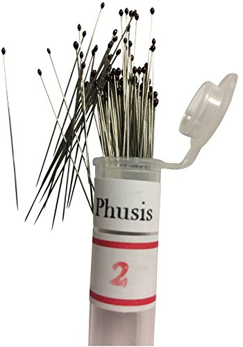Phusis Stainless Steel Insect Pins - Size #2 - Set of 100 - Includes Storage Tube - for Entomology, Dissection and Butterfly Collections (#2)... ()