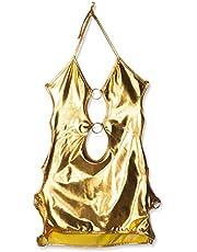 بدلة لانجري مثيرة بقصة تنورة ومزينة بالفتحات ومصنوعة من الجلد، للرقص على الانبوب الفولاذي- ذهبي (122)