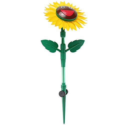 Trenton Gifts Durable ABS Plastic and Aluminum Rotating Smiling Sunflower Lawn Sprinkler