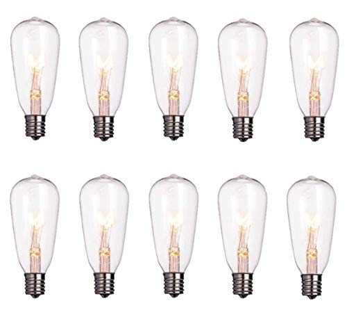 SkrLights 10 Pack Edison Clear Bulbs, 7watt E17 Screw Base C9 Replacement Bulbs, ST40 Replacement Clear Glass Light Bulbs for Indoor Outdoor Patio String Lights (C9 Replacement Light Bulb)