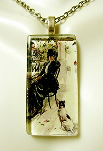 (Charmer at the cafe Terrier glass pendant - DGP02-405 - Harrison Fisher)