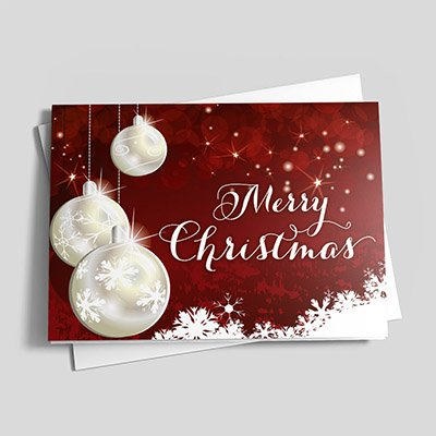 Pearly Christmas Ornaments - Christmas Cards | 25 Greeting Cards with Your Custom Message and Envelopes | Printed in the USA (Christmas Cards Online Custom)