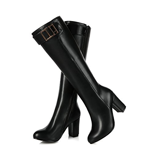 toe Heels Round Black Boots High AIWEIYi High Thick Womens Knee Ew5zWcqXW