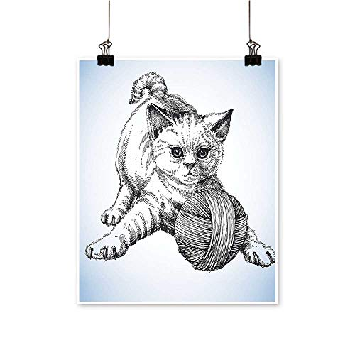 - for Home Decoration H Drawn Kitten Play Ball Wool Fluffy Mascot Pattern Baby Blue Grey for Home Decoration No Frame,32