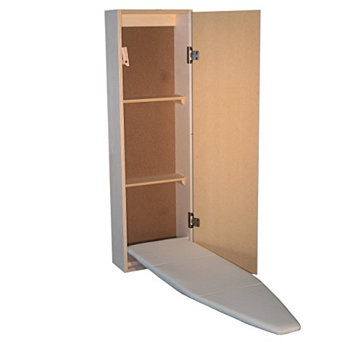 Built in Ironing Board with Storage Premium, with Routed Door, Shelves, and Trim by USAFlagCases