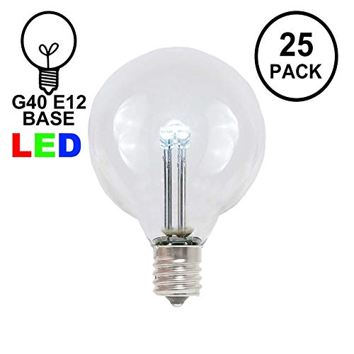 Novelty Lights 25 Pack G40 LED Outdoor String Light Patio Globe Replacement Bulbs, Pure White, 3 LED's Per Bulb, Energy Efficient