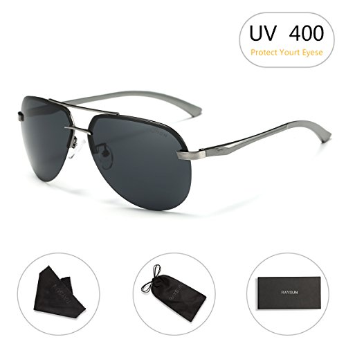 Aviator Sunglasses RAYSUN Aluminum Semi Rimless Polarized Vintage Sun Glasses for Men Women UV 400 with Sun Glasses - Us Sunglasses Aviator Made