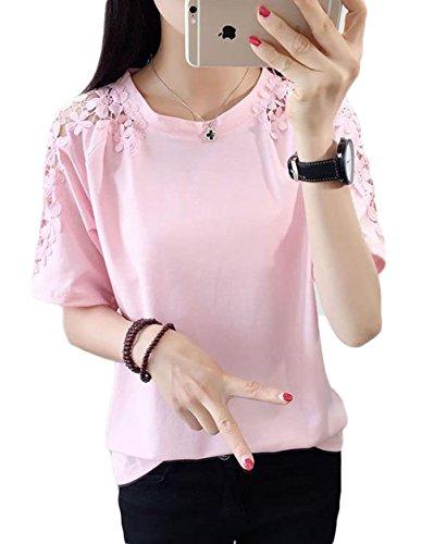 Gergeousレディース 半袖tシャツ オフショルダー レース かわいい トップス 韓国ファッション 夏服 白 ピンク 黒