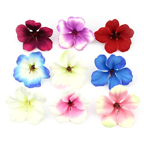 (fake flowers heads Bulk Spring Silk Orchid Artificial Flower Heads,Gladiolus Cymbidium Flowers for Wedding Decoration 100pcs/lot (Multicolor))