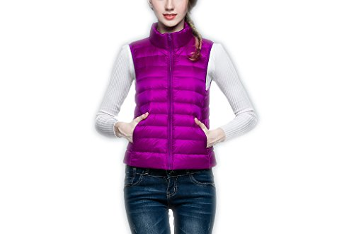 Ake Mujer Ultra-Light Chaleco de Pluma Down Puffer Chaquetas Windproof Coat Purple