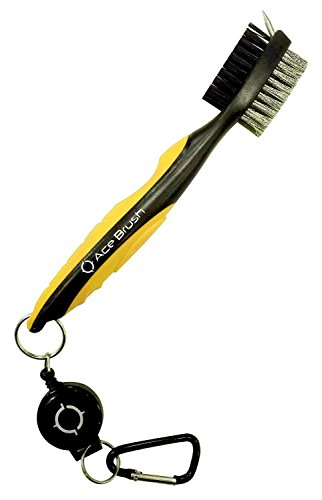 Golf Nail-brush and Club Groove Cleaner By Ace Golf in Multiple Colors, 2 Ft Retractable Zip-line Aluminum Carabiner, Lightweight and Chic, Ergonomic Design, Easily Attaches to Golf Bag (Yellow)