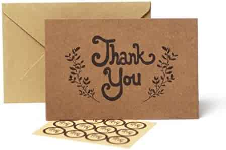 Thank You Cards – 100 Pack Kraft Paper Cards With Envelopes – Bulk Rustic Card Pack With Stickers – Blank 4 X 6 Cards for Weddings Graduations & Baby Showers