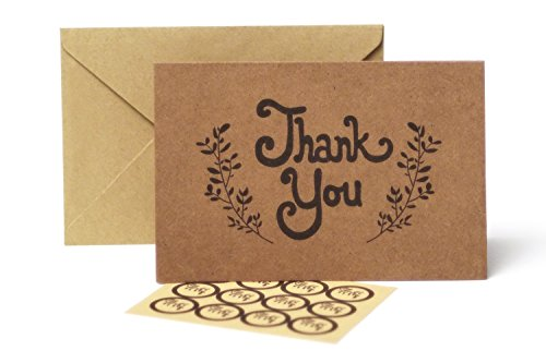 Thank You Cards – 100 Pack Kraft Paper Cards With Envelopes – Bulk Rustic Card Pack With Stickers – Blank 4 X 6 Cards for Weddings Graduations & Baby Showers -