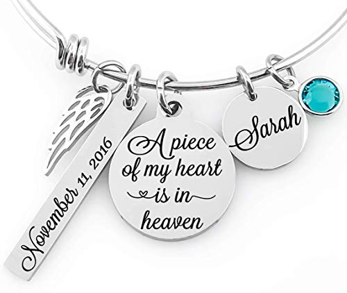 - Memorial Jewelry Bangle -A piece of my heart is in heaven- Name Disc, Angel Wings & Birthstone Crystal