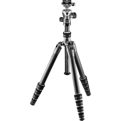 Gitzo Lightweight Series 1 Traveler Carbon Fiber Tripod with Center Ball Head, Silver & Black (GK1555T-82TQDUS)