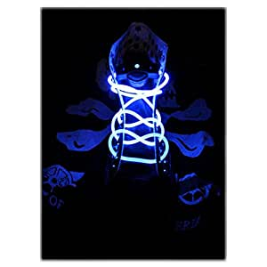 Topcabin LED Shoelaces with Continuous and 2 Blinking Modes in 5 Colors Flash Lighting the Night for Party Hip-hop Dancing (Blue)