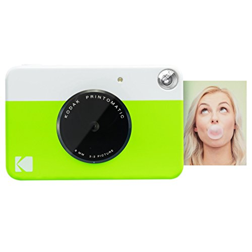Kodak Printomatic Digital Instant Print Camera (Neon Green), Full Color Prints On Zink 2x3 Sticky-Backed Photo Paper - Print Memories Instantly