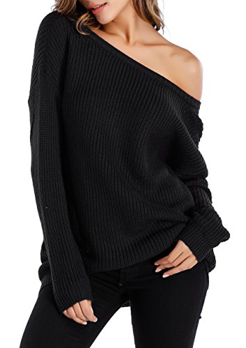 Black Sweater Top (Sarin Mathews Womens Sexy Off the Shoulder Slouchy Oversized Pullover Sweaters Black L)