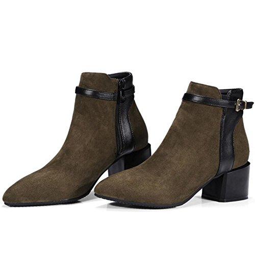 Boots Heel Green Women Block KemeKiss Autumn Fashion 224 Mid Winter Ankle xpYYq8vgd