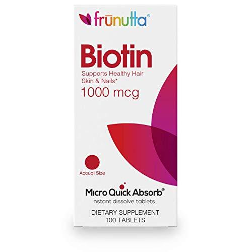 - Frunutta Biotin 1000 mcg, Beautiful Hair, Healthy Nails, Under The Tongue Instant Dissolve Tablets, 3 Month Supply