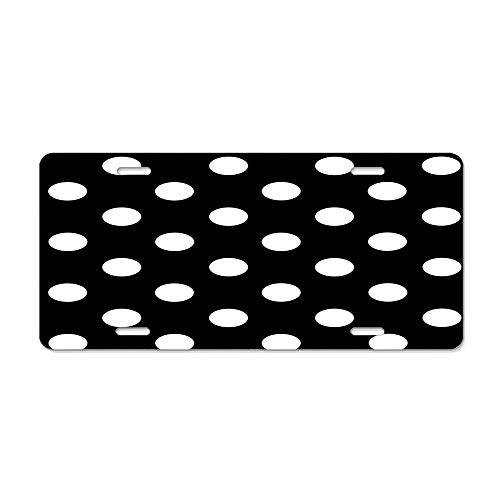 FloralFlames White Polka Dots On Black │ Pattern │ Duvet Bedspread and Cushion Modern Style Personalized License Plate Cover Decorative 6 x 12 Inch-Made of Aluminum