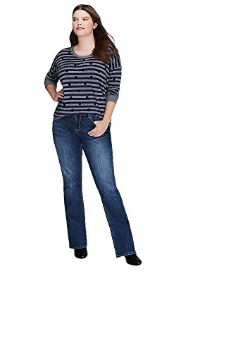 Lane Bryant Dotted & Striped Scoop Neck Sweater (18/20, Navy) from Lane Bryant